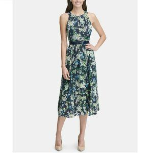 Tommy Hilfiger 4P Navy Floral Midi Dress NWT BW87